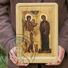 Russian Annunciation Museum Icon XII Tretyakov Gallery Art Antique Gold Plating