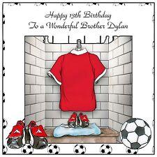 Mens Boys Handmade Personalised Birthday Card  ANY AGE Red Football Kit