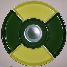 Beautiful Vintage Mid-Century Modern Green Yellow Glasbake Relish Tray 5pc Set