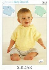 Snuggly Baby Care DK Sweaters Knitting Pattern Hooded Sirdar #3018 0-6yrs