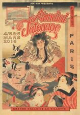 "TARGA VINTAGE ""MONDIAL TATOUAGE PARIS 2016"" Pubblicità, ADVERTISING,POSTER PLATE"