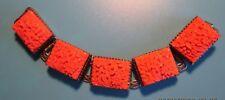 Celluloid Simulated Coral Bookchain Vintage Bracelet