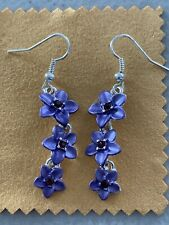 Hawaiian Purple Cz Triple Plumeria Flower Earring French Hook Hawaii Jewelry