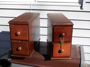 1 old antique wooden sewing treadle machine stacked 2 drawer set with key walnut