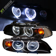 1997-2003 Bmw E39 5-Series Dual Halo Projector Black Headlights Left+Right Pair