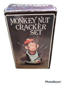 "Vintage McCrory Ceramic Monkey Nut Cracker Set New In Original Box 7.5"" Tall"