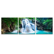 Landscape Canvas Wall Art Waterfall Lake Modern Green Art Print Giclee Decor 3P