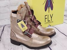 NIB - Fly London Leather Buckle Mid Calf Boots - Stif- Luna - EU 41 US (10-10.5)