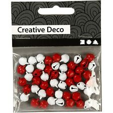 Red & White Mini Bells Christmas Jingle Bells Decoration Craft Pack 50 8 mm