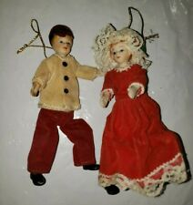 Vintage Christmas Tree Ornaments Victorian Style Dolls W/ Pipe Cleaner Legs 1119