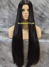 Very Long Straight W Hair Part Dark Brown Full Wig With Hair Part Hair Piece #2