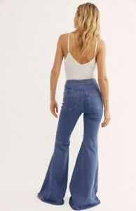 NWT FREE PEOPLE KNOW ME BETTER EXTREME FLARE JEANS SIZE 30 BELL BOTTOMS