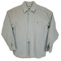 Lacoste Mens Dress Shirt Size 42 Button Front All Cotton Blue White Striped