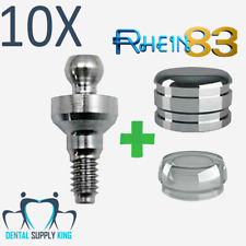 X 10 Dental Implant Ball Attachment Kit & Silicone Cap & Titanium Housing 2mm