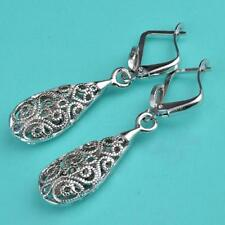 Antique Style Hollow Stunning Rose GOLD Plated Filigree Drop Earrings Jewelry