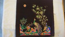 Oriental Asian Fabric Painting Thai Asian Two Peacocks by Bamboo Tree