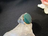 Silberring Männerring Siegelring Ring Sterlingsilber 925 Handarbeit grün Jade