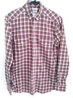 Lacoste Mens 38 Modern Fit Brown Red White Plaid Long Sleeve Button Up Shirt
