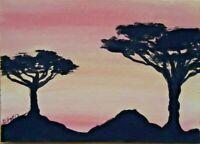 Original ACEO - Trees - miniature acrylic painting,