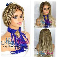 "blond wig- 4"" by 4"" closure- braided wig- Cornrow braided- Handmade- box braids"