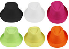 Men Women Solid Plain Neon Colorful Cotton Fedora Trilby Panama Jazz Hats Caps