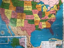 Pull Down School Maps 1 Layer U.S. Vintage, Salvage, Old, Antique.