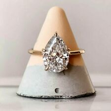 2.40 TCW Pear Cut DEF Forever Moissanite Engagement ring in Solid 14K Rose Gold