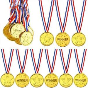 6-144PCS Children Gold Plastic Winners Medals Sports Day Party Bag Awards Toys
