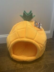 Pineapple Micro Plush Dog Or Cat Cave Bed