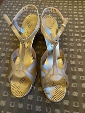Vtg Gold Disco Shoes High Heel Sandals Womens 8 N Ray Ehinger - Ray-monde