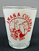 "Vtg Amana Colonies Amana Iowa Shot Glass 2.25"" Red White Design Souvenir Barware"