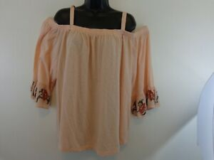 NWT Jessica Simpson Juniors' Arlene Embroidered Off-The Shoulder Blouse Size 1X