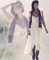 Free People Gypsy Heart Tiered Ruffle Ivory Cream Maxi Dress XS Retails 198.00