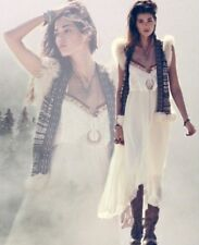 Free People Gypsy Heart Tiered Ruffle Ivory Cream Maxi Dress XS Retails 198.00