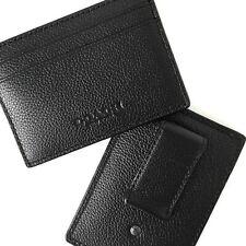 Coach Mens Leather Money Clip Card Case Wallet Black F75459