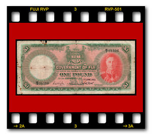 GOVERNMENT OF FIJI ONE POUND P-41f 01.06.1951 BANKNOTE KING George VI