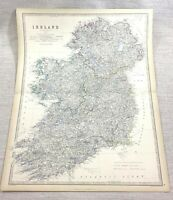 1861 Antique Map of Ireland Eire Irish Counties Hand Coloured Engraving Johnston