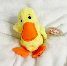 Ty Beanie Babies, Yellow and Orange Quakers Duck Plush Stuff Animal, 1993