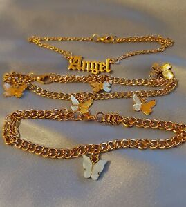 Gold chain Angel old english blue butterfly trio triple anklet bracelet