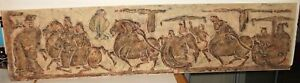 """CHINESE """"HORSES & CHARIOTS"""" OLD ORIGINAL STONE RUBBING"""
