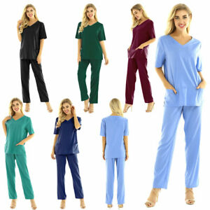 Unisex Hospital Medical Scrub Doctor Nursing Scrubs Tunic Uniform 2 Piece Pants