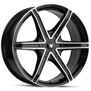 """4-Mazzi 371 Stilts 18x8 6x120/6x132 +30mm Black/Machined Wheels Rims 18"""" Inch"""