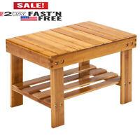 Wooden 3 Tier Bamboo Shoe Rack Bench Entryway Seat Organizer Wood Storage Shelf