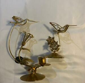 24k Gold Plated Hummingbird Flower Austrian Crystal Tea Light Candle Holder Vtg