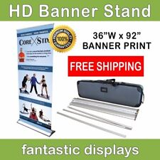 "HD Retractable Banner Stand 36"" Pro Line Up with Print for Trade Show Exhibits"