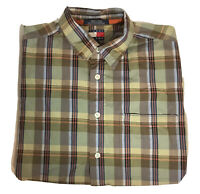 Vintage Tommy Jeans Hilfiger Button Front Shirt Mens Sz Large Green Brown Plaid