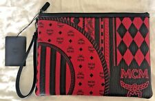 Mens MCM Ruby Red Stark Baroque Print Pouch With Wristlet