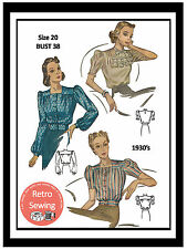 1930s Blouses Sewing Pattern -  Reproduction Sewing Pattern