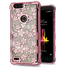 FOR ZTE BLADE ZMAX PRO 2/SEQUOIA HIBISCUS FLOWER ROSE GOLD QUICKSAND CASE COVER