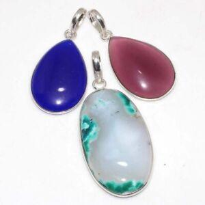 Dendritic Opal Blue Chalcedony Ethnic Handmade 3Pcs Pendant Lot Jewelry JW